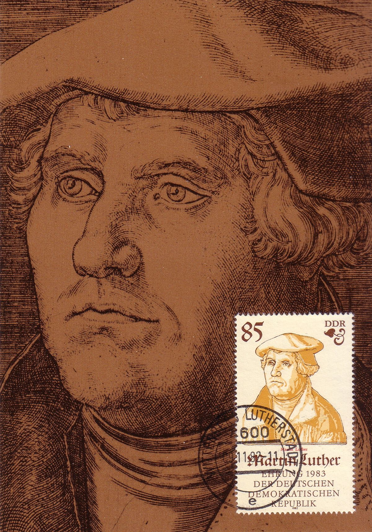 Martin Luther, FDC Michel 2754 - 2757, DDR, Luther, 1983, 500 Jahre Martin Luther, Maximumkarte