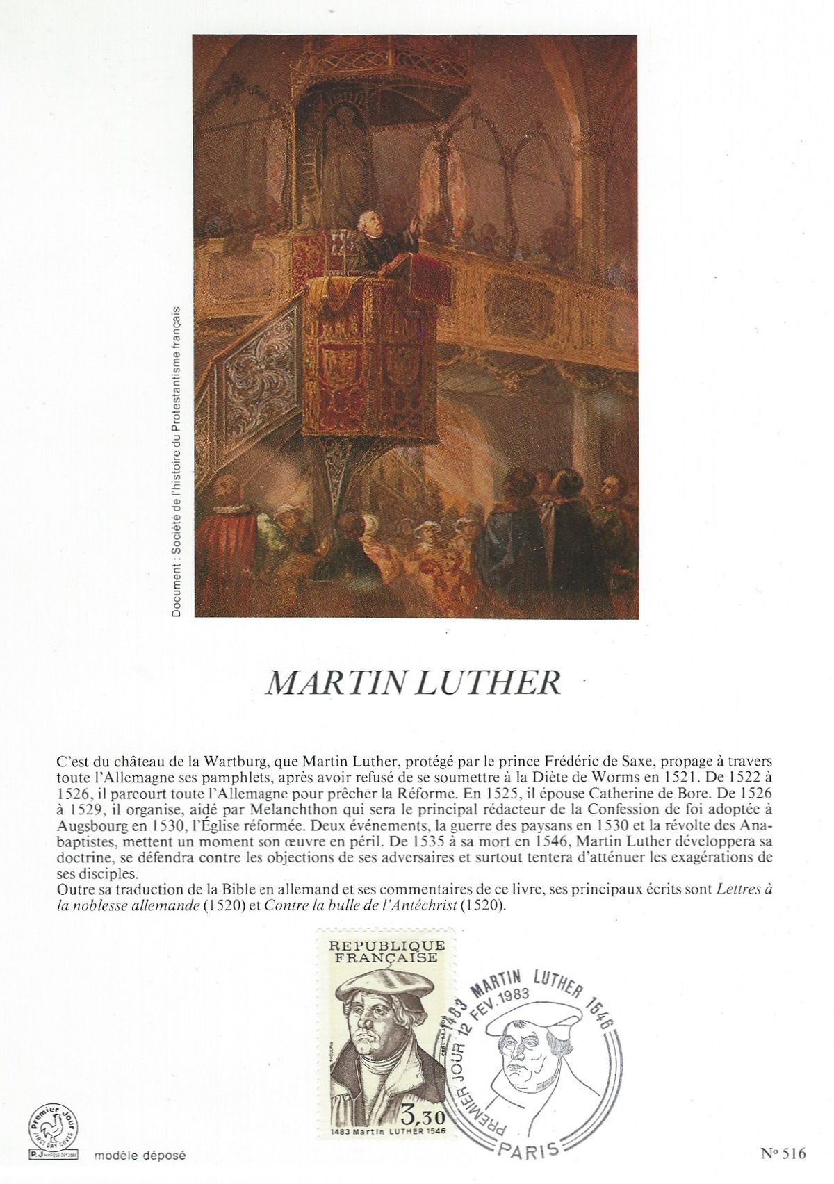 500. Geburtstag Martin Luther, Martin Luther, Luther, Frankreich, Reformator, France, Michel 2382, Jean Pheulpin