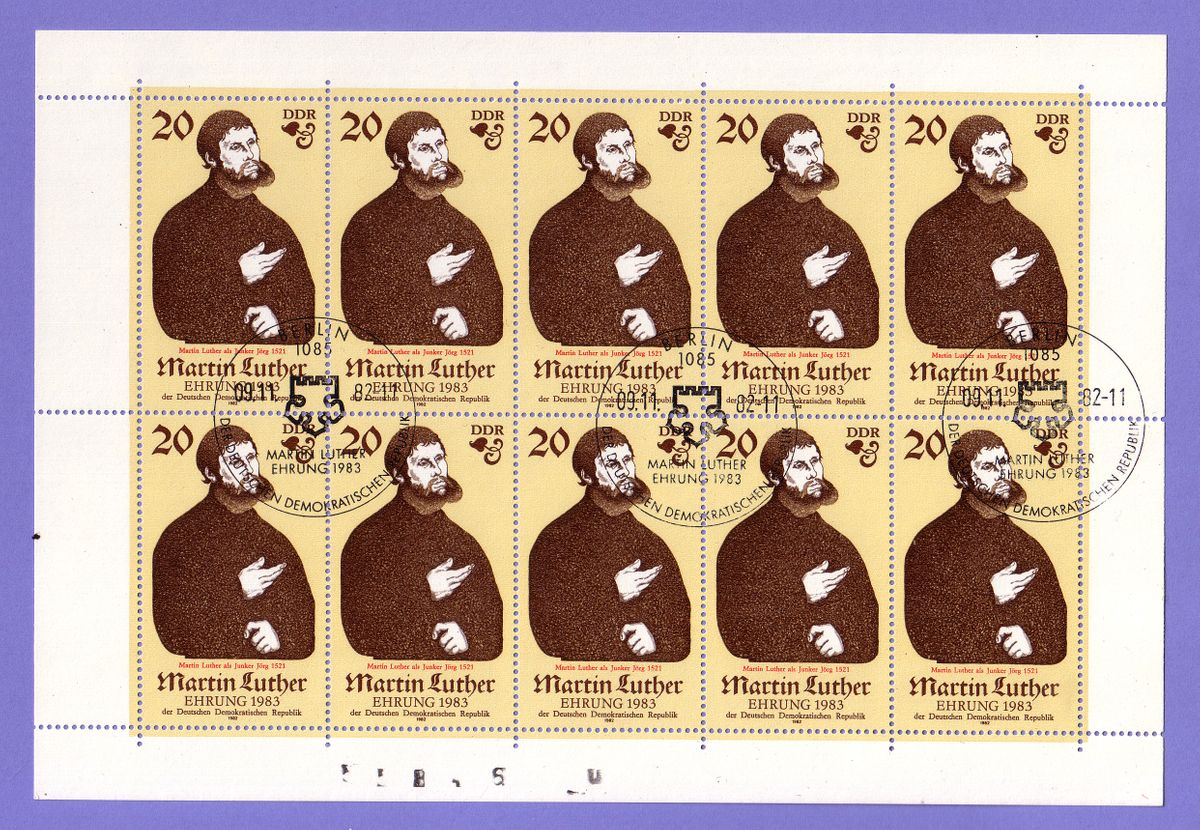 Martin Luther, FDC Michel 2754 - 2757, DDR, Luther, 1983, 500 Jahre Martin Luther