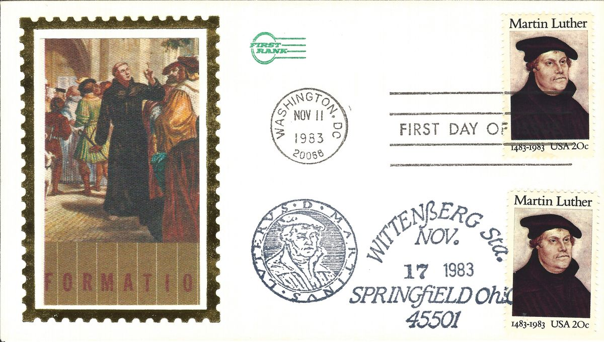 11.11.1983. USA FDC Wittenberg Springfield 500 Jahre Martin Luther