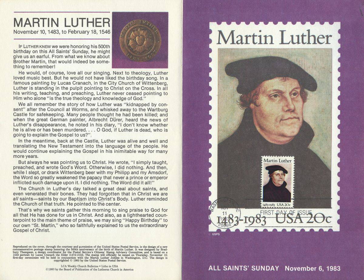 USA 1983 # 2085 - 500 Jahre MARTIN LUTHER 5.5X8.75 both sides