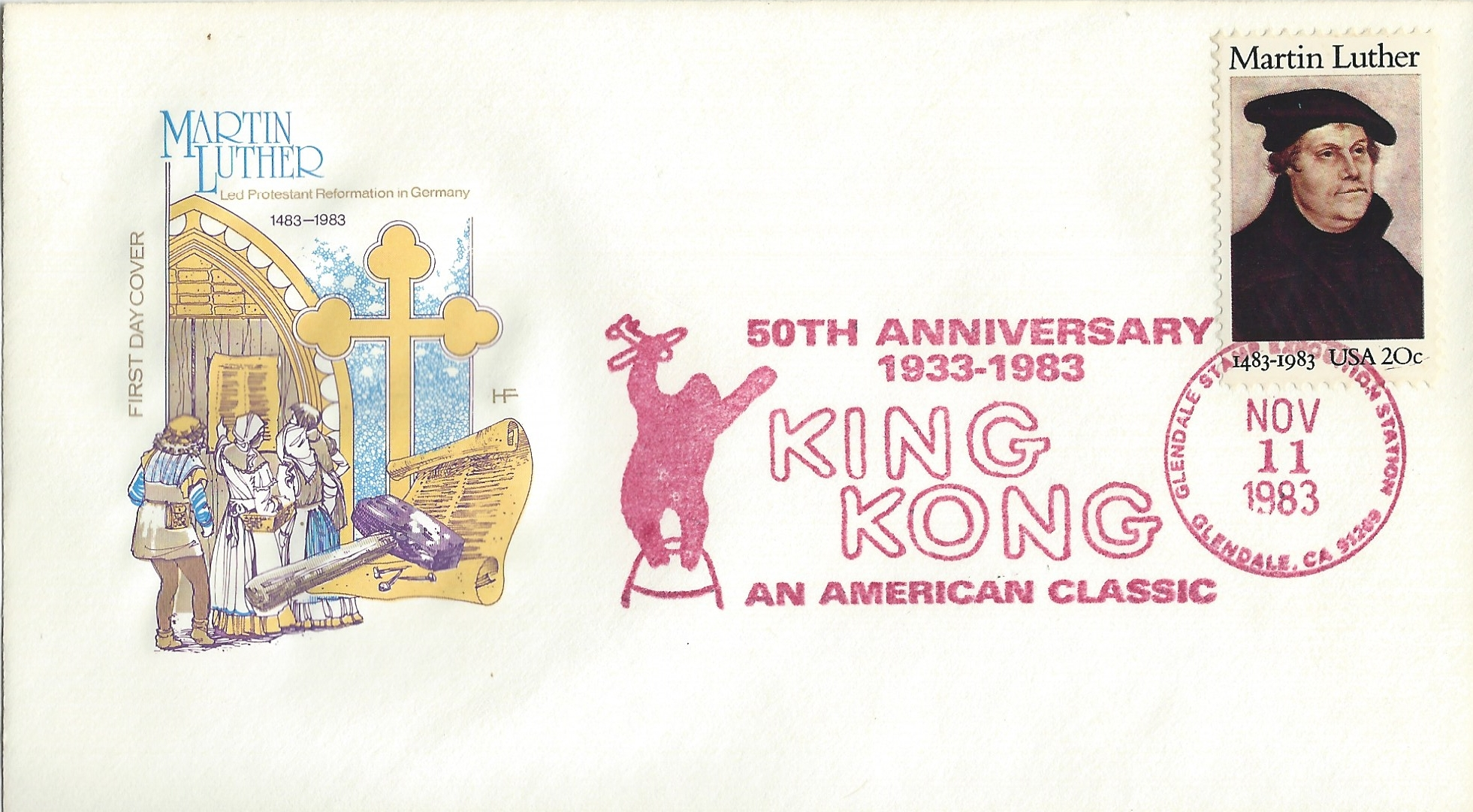 King Kong, Martin Luther, USA, FDC, Briefmarke