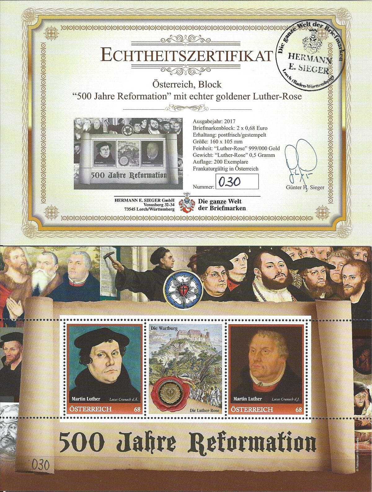 Luther-Rose, Martin Luther, Luther Briefmarken, goldene Lutherrose