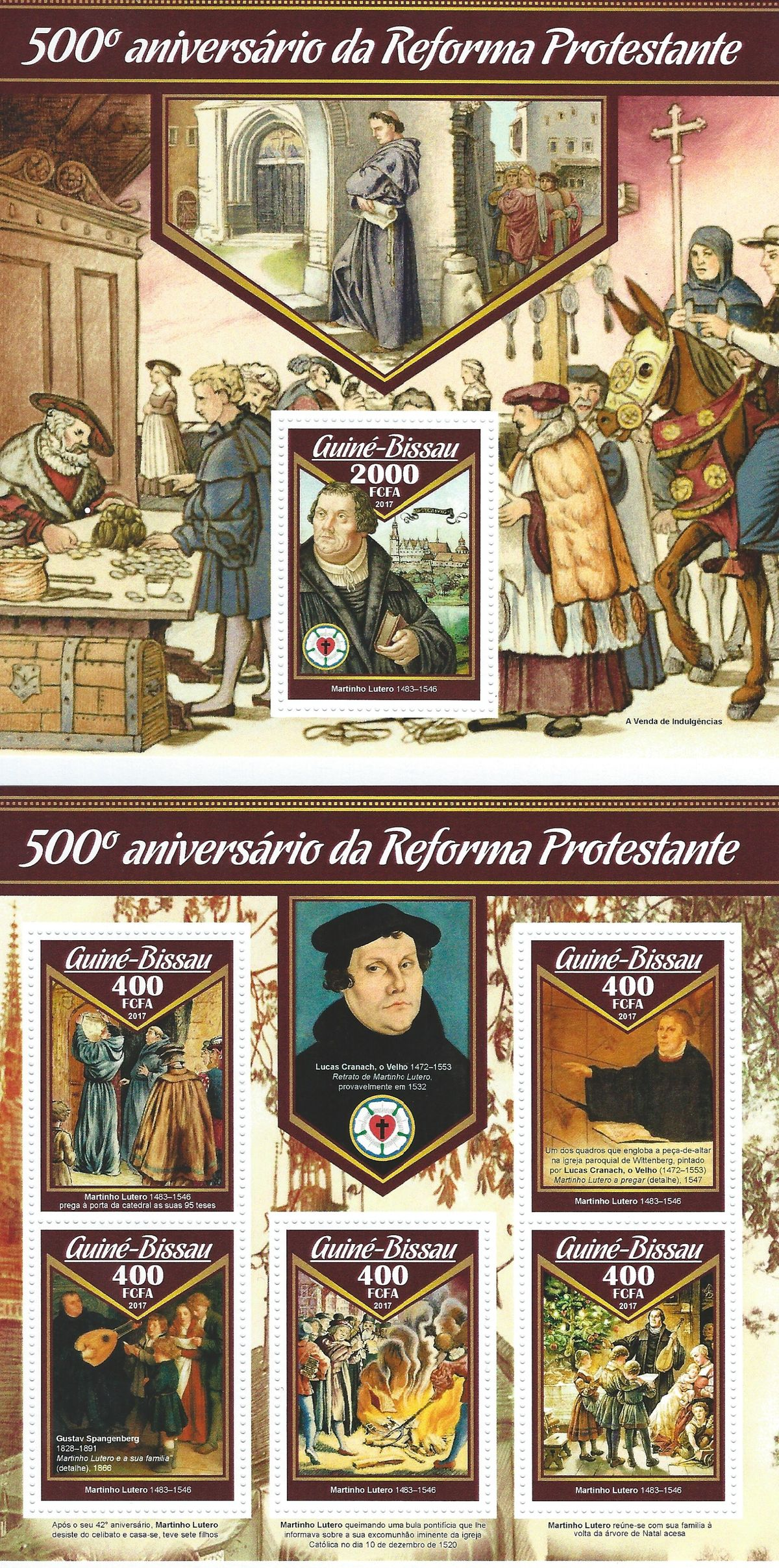 Guine Bissau, Martin Luther, Luther Briefmarken, Blocksatz, 2017, Reformation