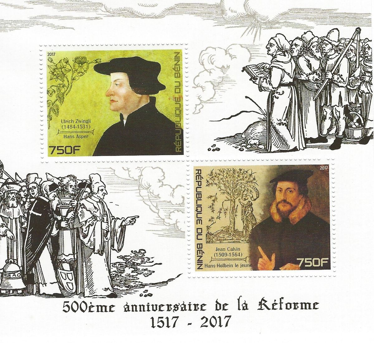 Ulrich Zwingli, Jean Calvin, Briefmarken, Reformation, Luther Briefmarken