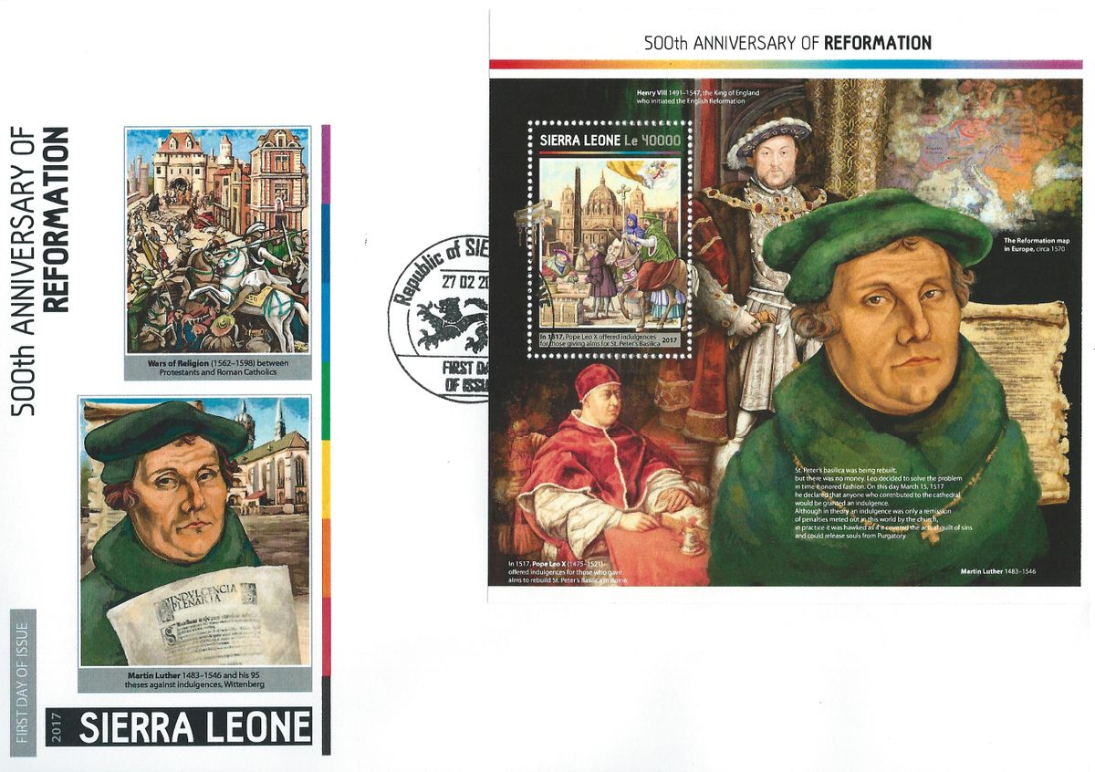 Sierra Leone, Reformation, Martin Luther, Papst Leo X, Luther Briefmarken