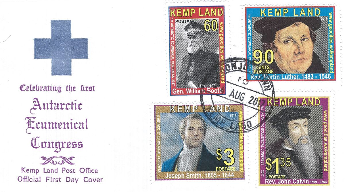 Ökumenischer Kongress 2017, Kemp Land, Calvin, William Booth, Joseph Smith, Luther, Gay, Luther Briefmarken