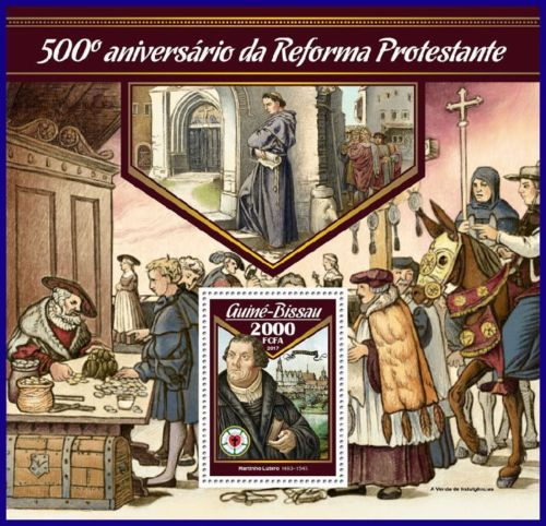 Luther-Rose, 30.01.2017 Guine Bissau, GUINEA BISSAU, Reformation, Martin Luther, Luther Briefmarken