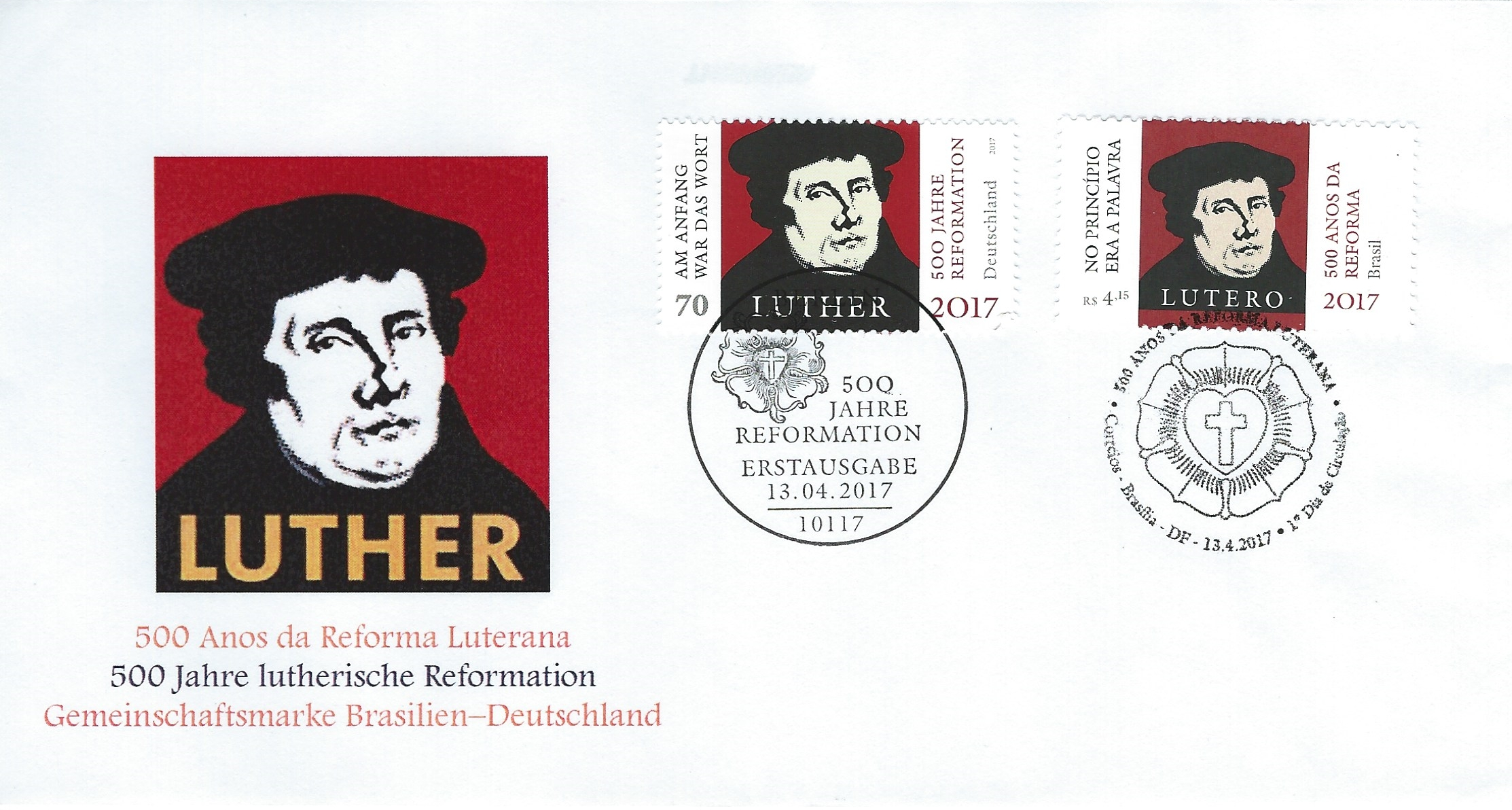 2017.04.13_FDC_500Jahre Reformation Luther BRD_Brasil