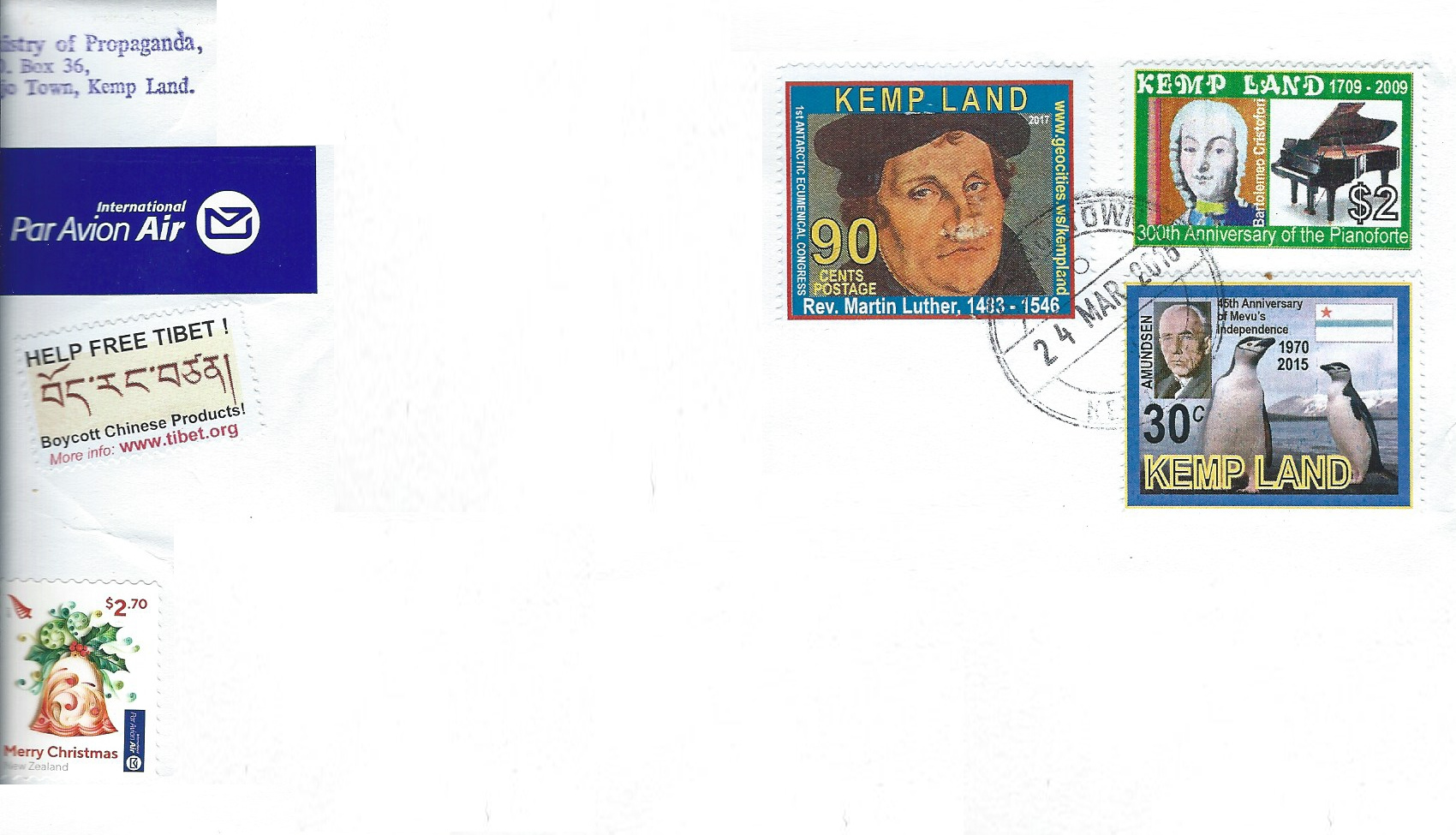 Ökumenischer Kongress, Kemp Land, Calvin, William Booth, Joseph Smith, Luther, Luther Briefmarken